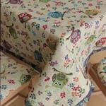 copritavolo tovaglia gobelin su misura tessuto disegno gufo panna