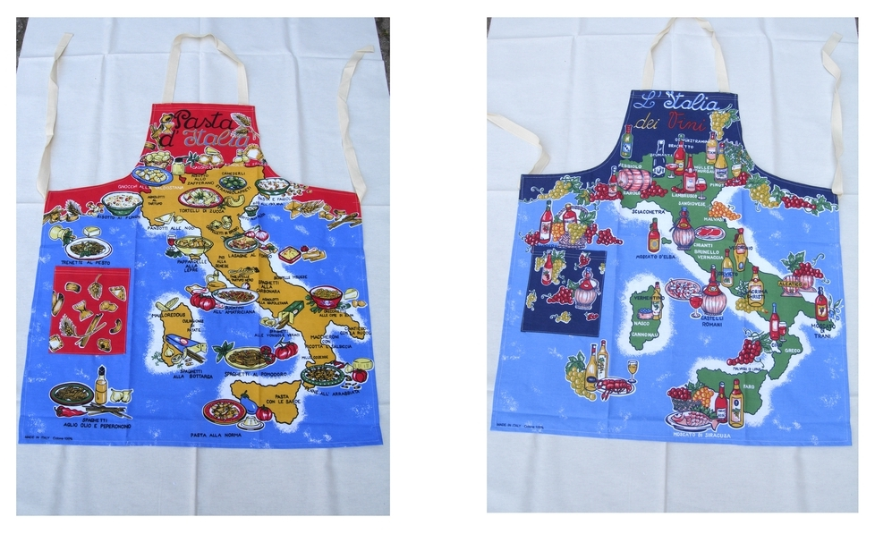 Idea regalo grembiule con stampa cartina vini e pasta italia