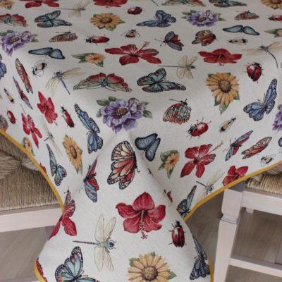 copritavolo tovaglia gobelin su misura tessuto disegno farfalle