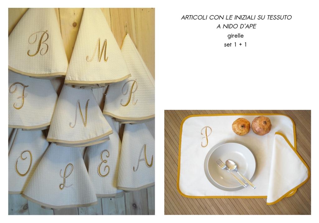 idea regalo girella in cotone e set colazione con cifra ricamata