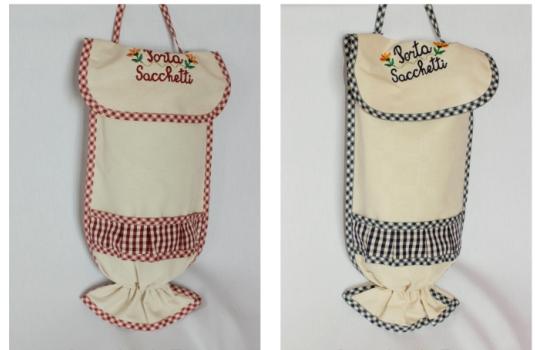 Porta sacchetti idea regalo per conservare buste con ricamo