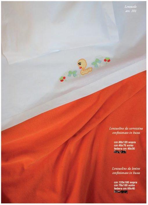 lenzuola bambini lettino carrozzina ricamato cotone