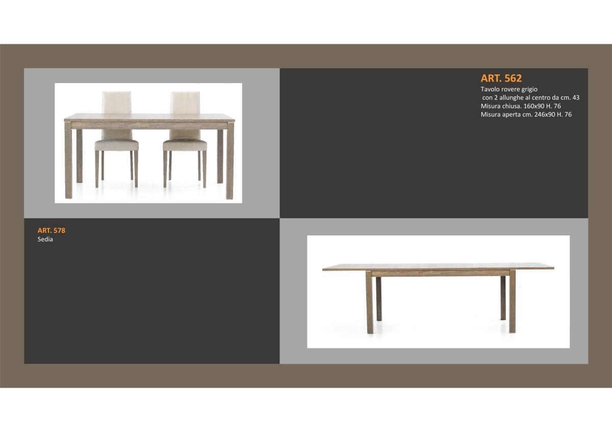 Tavolo in Rovere Grigio 1 Lunghezza e 2 allungamenti e Sedia ...